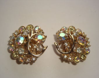 Vintage AB Aurora Borealis Rhinestone Clip Earrings