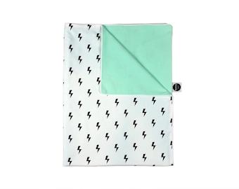 Baby Blanket / Monochrome Crib Blanket / Pastel Mint Blanket / Monochrome Blanket / Nursery Bedding / Crib Blanket /Lighting Kids Room Decor