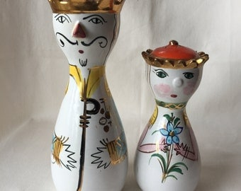Italian Whimsical Pottery king and Queen Salt and Pepper shakers Sculptures