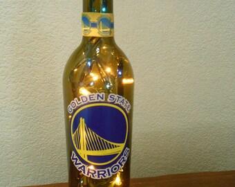 Golden State Warriors Wine Bottle Light (Blue and Yellow lights) dubs, dub nation, GSW, splash brothers, Golden State Light, Warriors Light