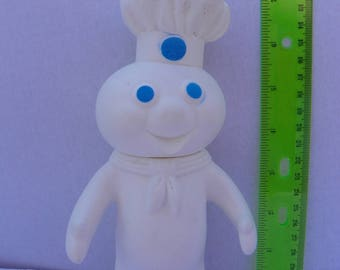 Vintage 1971 Pillsbury Doughboy Figure , 7.25 Inch Poppin Fresh Rubber Doll ,  Pillsbury Dough Boy Squeezable Rubber Toy Doll , Advertising