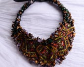 Unique gift, statement necklace, elegant necklace, hand embroidery, ukrainian embroidery, embroidery necklace, statement jewelry