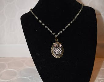 Brass and crystal owl locket