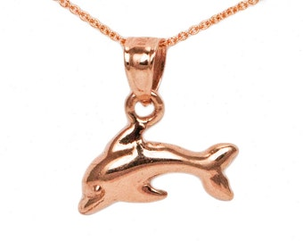 10k Rose Gold Dolphin Necklace