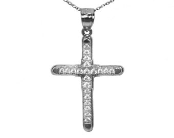 14k Black Gold Cubic Zirconia Cross Pendant