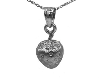925 Black Sterling Silver Strawberry Necklace