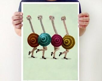 Ostrich Poster, ostrich print, funny ostrich, ostriches dancing, surrealist painting, original creation by Coco de Paris