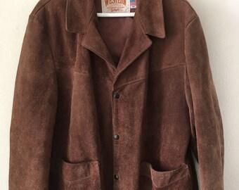 Spring Short Vintage Brown Genuine Suede Jacket Men's Size Large.