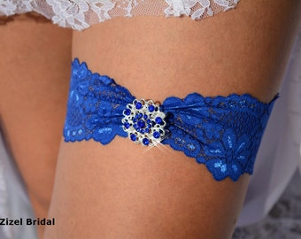 Heart Garter, Blue Wedding Garters, Rhinestone Garters, Lace Garter Set, Antique Garters, Royal Blue Garter, Lingerie Garter, Something Blue