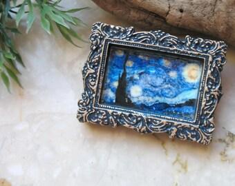 Van Gogh Starry Night brooch, 2in1