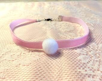 Pink Velvet Choker with Pompom