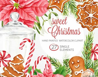 Digital Christmas clip art / Watercolor Christmas / Christmas scrapbook / Winter foliage / Gingerbread cookies / Peppermint candy / CA103