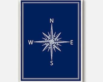 Compass, Compass Illustration, Nautical Print, Nautical Poster,Compass Print,Compass Poster,Vintage Print,Modern Print ,Poster nautical blue