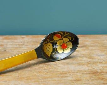 Khokhloma wooden spoon , Handpainted spoon , Soviet Vintage Wooden Spoon , Russian folk art ,  Russian souvenir