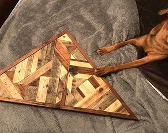 Reclaimed Wood Triangular Wall Art