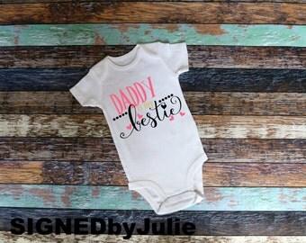 "Baby Girl Onesie ""Daddy Is My Bestie"" Short Sleeve Baby Onesies Bodysuit"