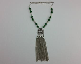 Green Chain Dangler Necklace