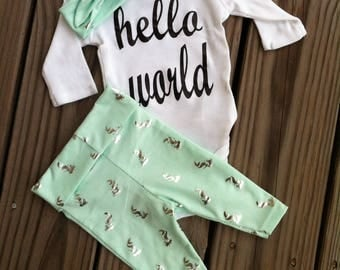 Beautiful Mint Newborn babygirl Hello world coming home outfit- coming from hospital outfit