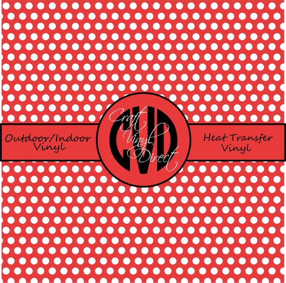 Polka Dot Patterned Vinyl // Outdoor and Heat Transfer Vinyl // Red Coral Polka Dot Craft Vinyl and Heat Transfer Vinyl in Pattern 507