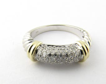 Vintage 14 Karat White and Yellow Gold Diamond Ring Size 7 #1840