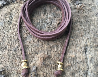 Light Brown Suede Wrap Choker