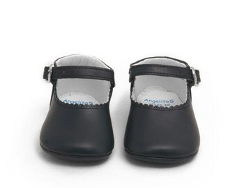Dark Blue Leather Mary Janes Merceditas baby shoes