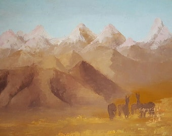 print of oil painting, Andes