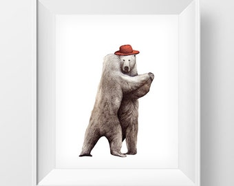 Bear dance Wall Art,  Wall Art Printable, Poster Download, Digital Download Art, Wall Art Decor, Home Decor Wall Art, INSTANT DOWNLOAD