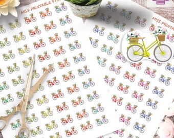Bicycle Printable Planner Stickers  Bicycle Icon Stickers Functional Stickers Bike riding Planner, Monthly Kit Printable,Instant download