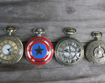 Four (4) Nonworking Pocket Watches Steampunk Pocket Watches Doctor Who Captain America