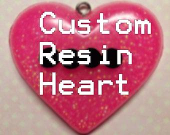 Custom Beaded Word Resin Heart