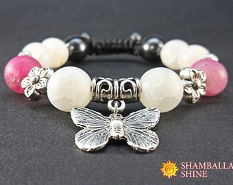 White pink bracelet Agate beaded jewelry Natural white gemstone Butterfly charm jewelry Girlfriend gift bracelet Girls charm bracelet
