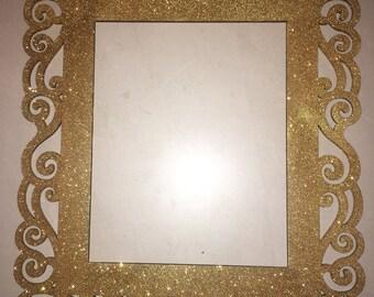8x10 gold glitter frame