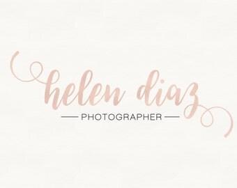 Beautiful elegant full name photography Logo / Watermark brush, Signature Premade Logo Design Rose Gold