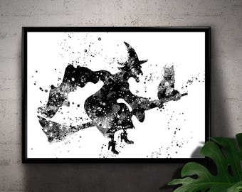 Witch flying on a Broom with her Cat, Black and White Watercolor, Room Decor, Magic, Printable Wall Art, gift, Instant Download (05)