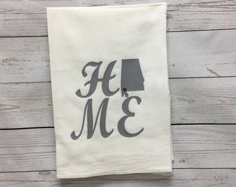 Kitchen Towel, Alabama Towel, Wedding Gift, Housewarming Gift, Personalized Towel, Flour sack towel, Gifts for her, Linens, Tea Towels, home