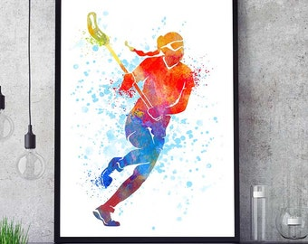 Lacrosse Girl Art, Lacrosse Woman Print, Lacrosse Player, Watercolor Prints, Sports Decor, Lacrosse Wall Art, Kids Room, Team Player (N002)