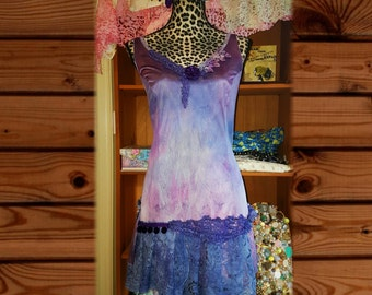 SpRiNg 44 DoLlAr SaLe ~~~~ Purple gypsy slip dress, reconstructed slip, hand dyed.