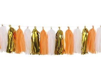Orange + White + Metallic Gold   Tassel Garland   Halloween Decoration   Halloween Garland   Halloween Banner