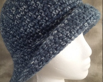 Cloche Hat, Vintage Style 20's Hat, Gift for Her, Ready to Ship, Crochet, Denim Blue Mix, Acrylic Yarn, Warm & Stylish, Ready to Ship