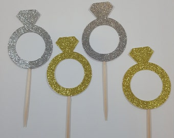 Gold or Silver Engagement Ring Cupcake toppers
