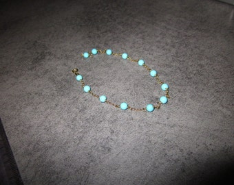 BRACELET 18KT GOLD, TURQUOISE, high quality solid gold, natural turquoise, gift idea