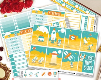 I Need Space Erin Condren Vertical Kit Planner Stickers |  Weekly Kit | Space Stickers | Galaxy Stickers | EC Vertical Kit