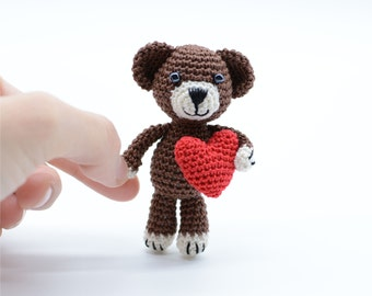 Miniature Bear, Brown Teddy, Valentines gift, stuffed animals, Bear with Red Heart, Keychain Bear, Crochet Toy