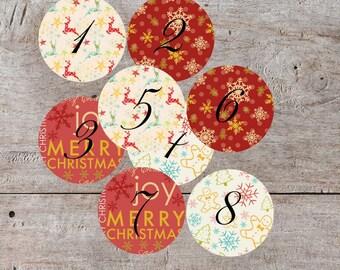 Red Printable Advent, Printable Advent Calendar, Countdown Christmas, Advent Cards, DIY Advent Calendar, Advent Stickers, Christmas