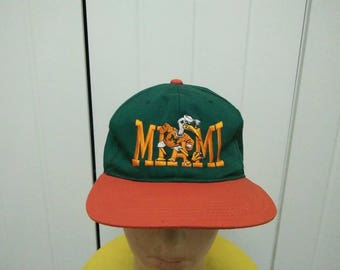 Rare Vintage MIAMI CANES Big Logo Embroidered Cap Hat Free size fit all
