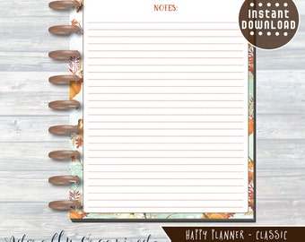 HAPPY PLANNER PRINTABLE Notes Planner Pages / Inserts - 7 x 9.25   Autumn Harvest   Create 365   Me & My Big Ideas   mambi   Notes Page