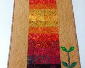 Quilted batik table runner. Ombre quilt. Quilted wall hanging. Colorful runner. Pot holder. Table topper. Boho home decor. Handmade quilt.