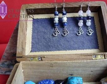 Gemstone Reiki Healing Crystal Tibetan silver style Om symbol charm drop earrings from St Helens Crystals