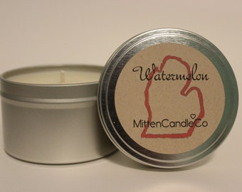 Watermelon Scented Soy Candle Tin or Wax Melt - Spring & Summer Fresh Scent - 4 or 8 ounce